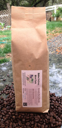 Micro Farm organic coffee packed in a biodegradable valve bag